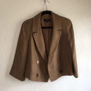 ⚜️ Talbots Gold Brown Tweed Blazer - 8